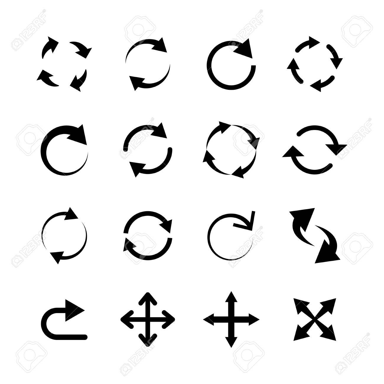 Big circle arrow set. Pictogram refresh reload. Element for websites. Vector illustration - 122214853