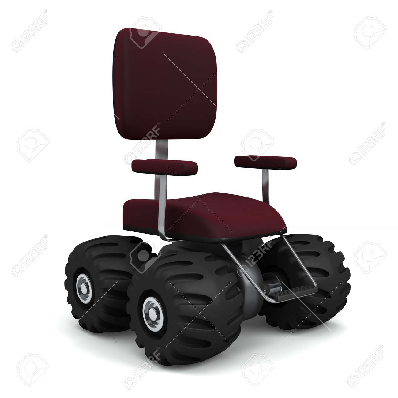 e55759a1e4 4 wheel drive office chair. Big monster truck tires. Isolated on white  Stock Photo