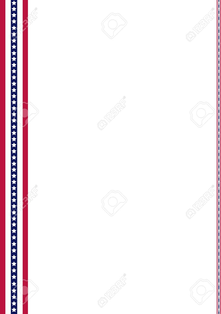 announcement page decorated with american flag strips ornaments