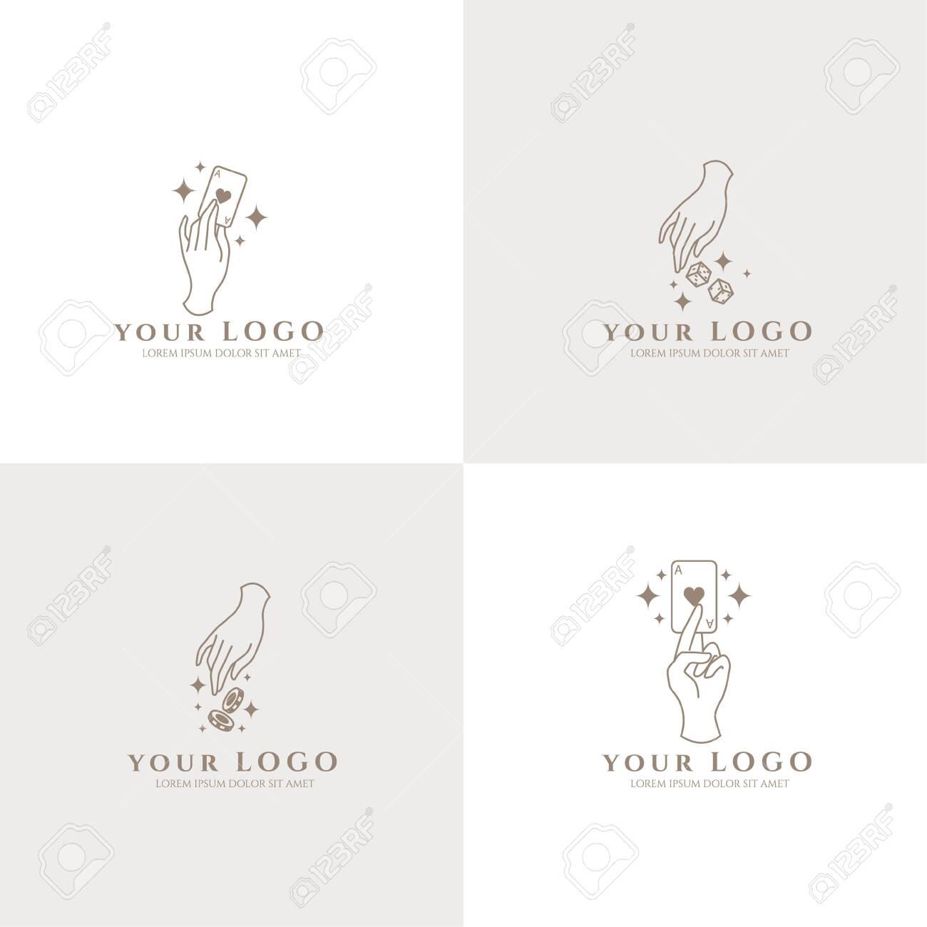 occult hand boho logo editable template card casino - 154402062
