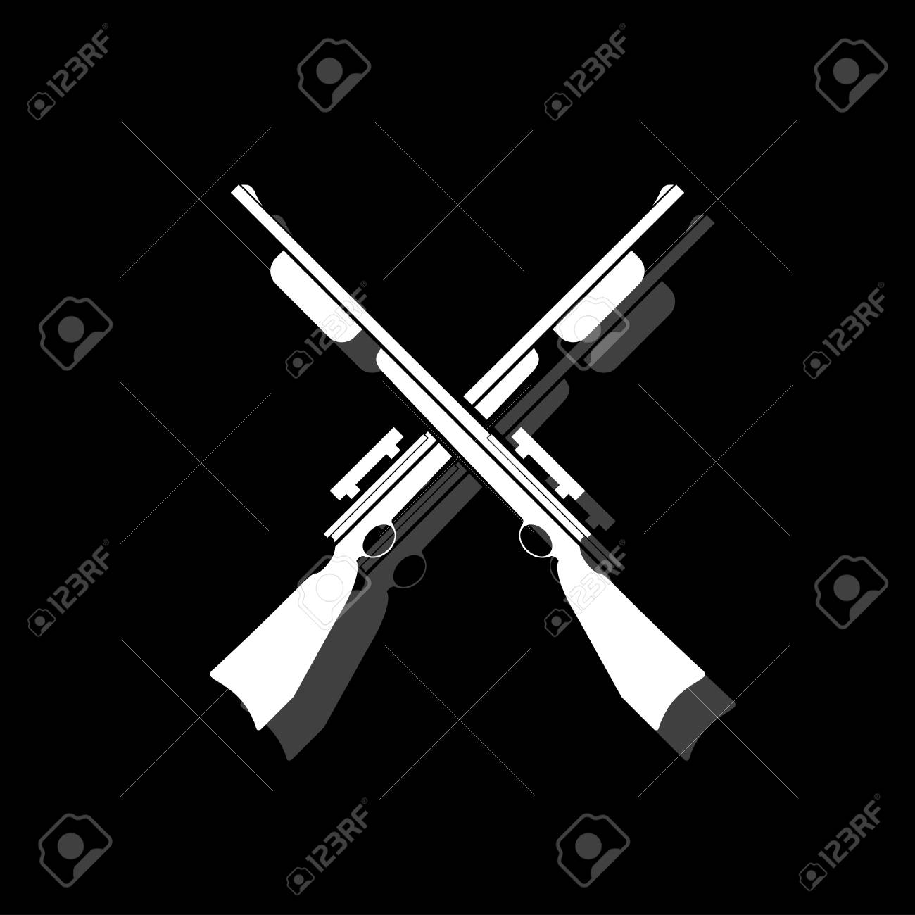 Crossed shotguns, hunting rifles  White flat simple icon with