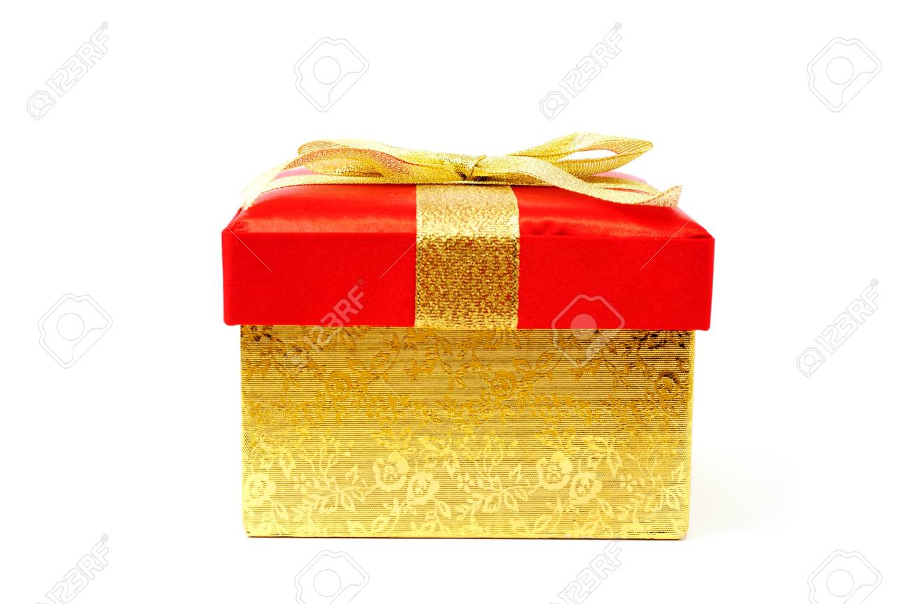 An image of golden gift box on white Stock Photo - 12041737