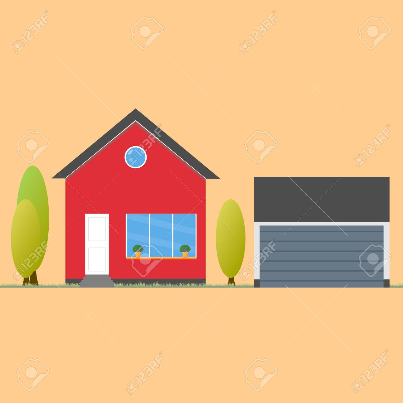 House flat icon. Design your own apartment. Colorful house concept.