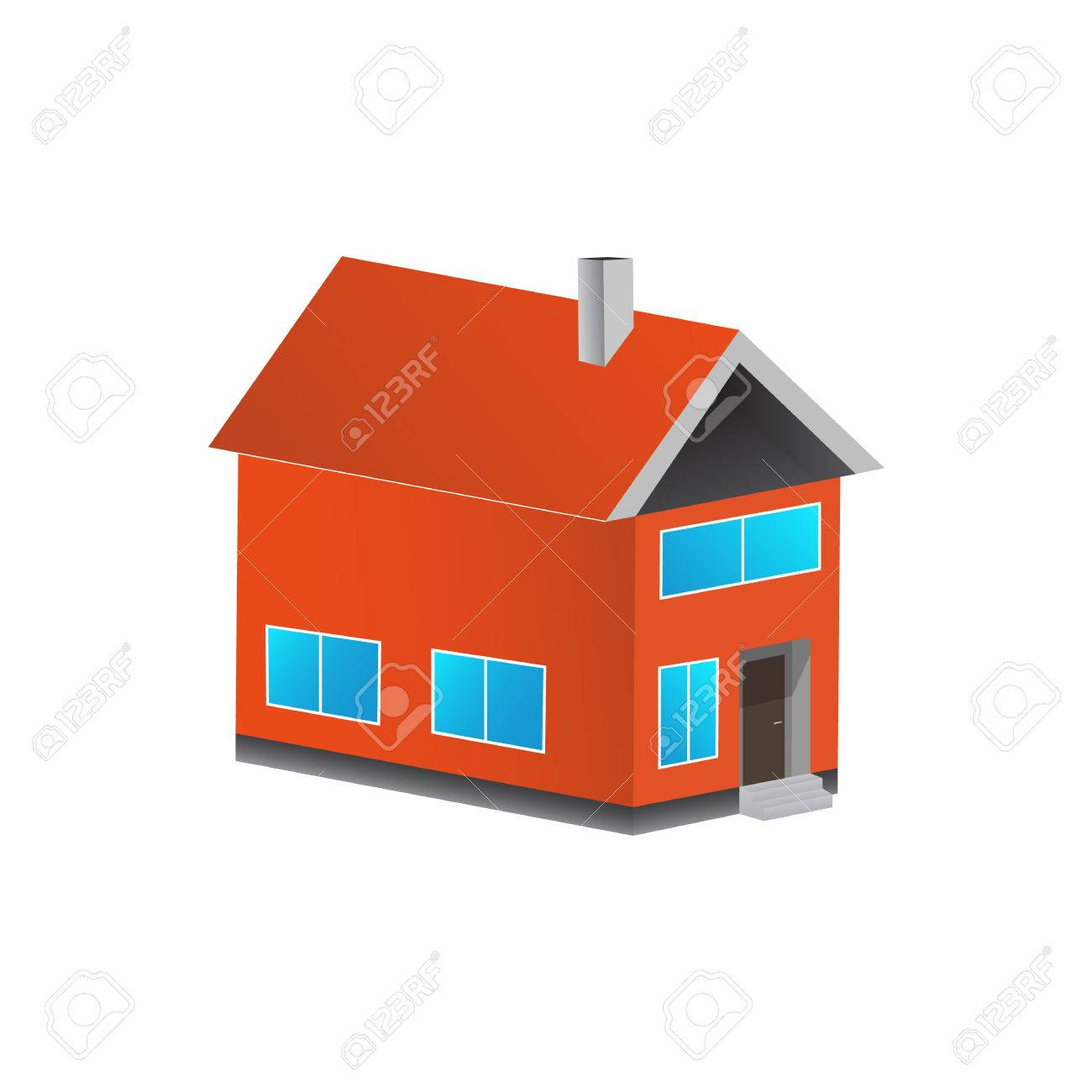 House flat icon. Design your own apartment. 3d colorful house..