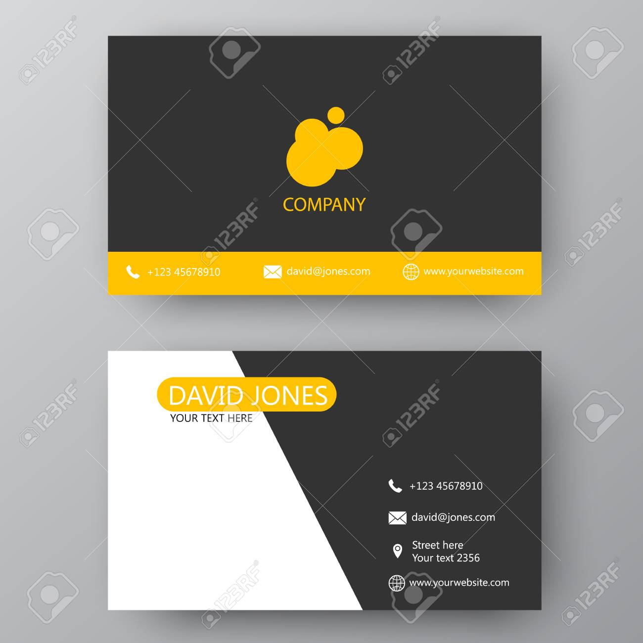 Vector business card template visiting card for business and banco de imagens vector business card template visiting card for business and personal use modern presentation card with company logo reheart Choice Image