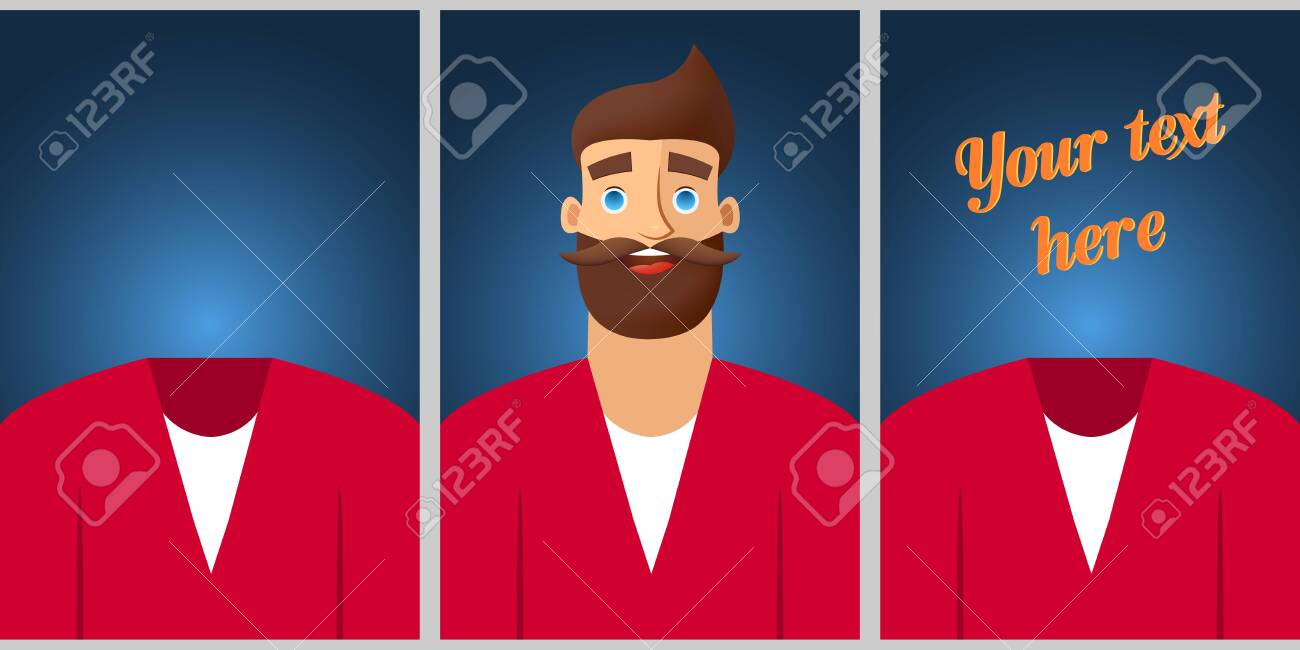 Colored Template For Promotion Banner Design With Men Character Royalty Free Cliparts Vectors And Stock Illustration Image 123863778