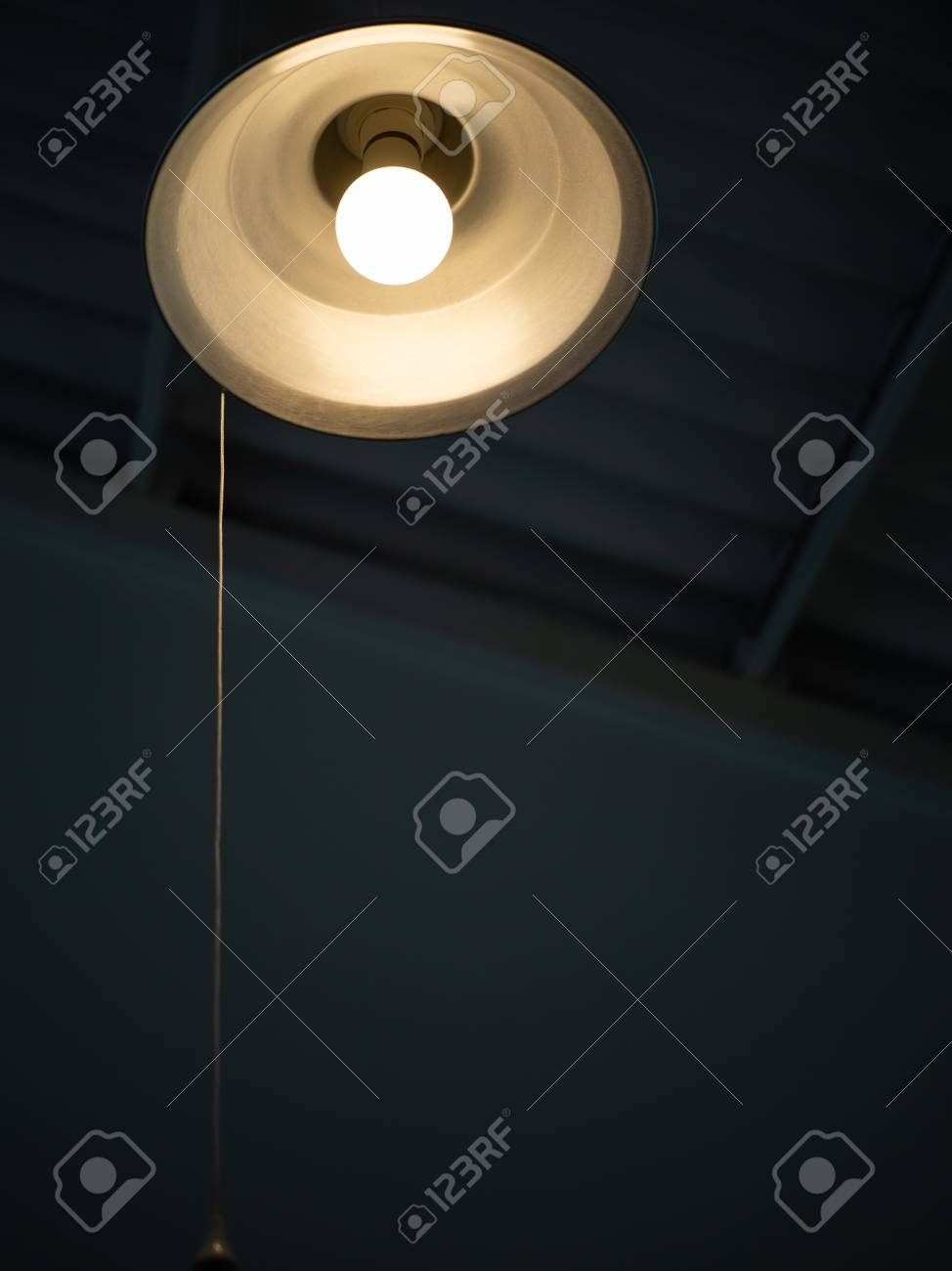 Lighting From Vintage Round Ceiling Lamp With Pull Cord Switch In ...
