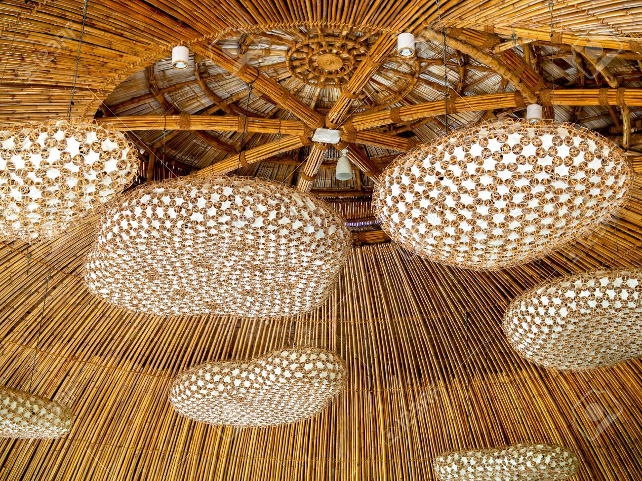 Beautiful Modern Hand Woven Bamboo Ceiling Light Decoration On Stock Photo Picture And Royalty Free Image Image 130785947