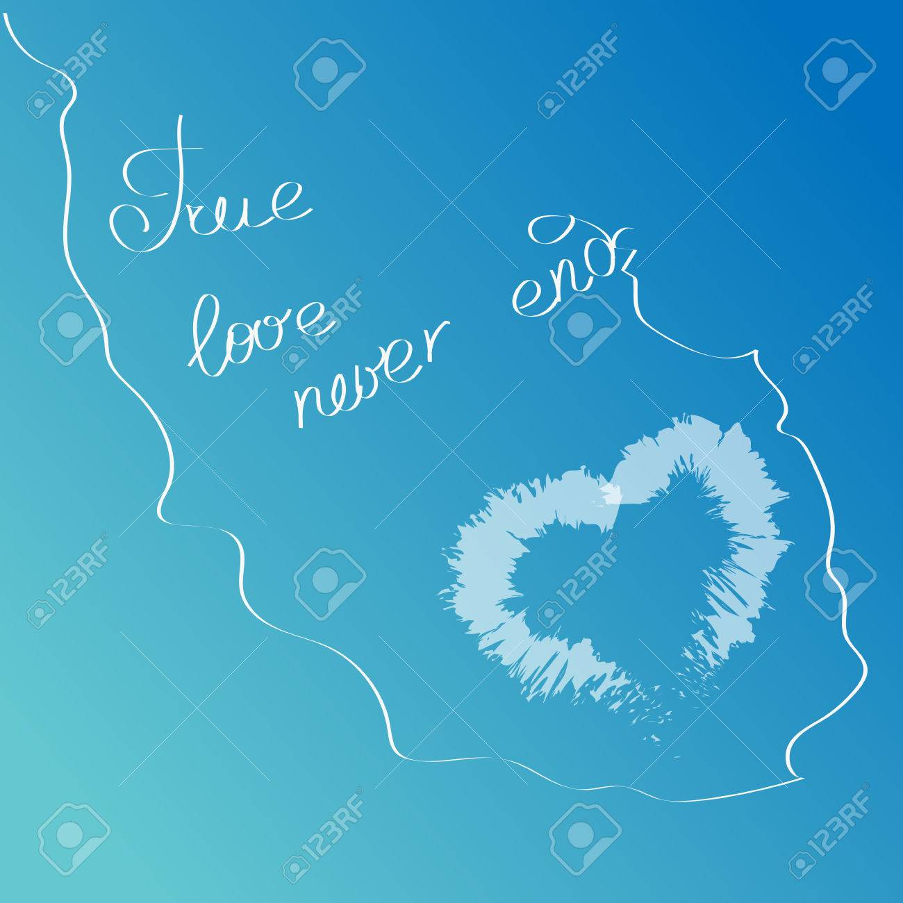 1a904dd1ff621 Vector - White cloud in the shape of a heart on a blue sky with hand drawn  words True love never ends. Love quotations.