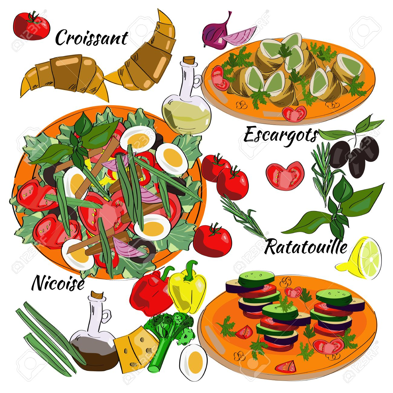 traditional dishes of french cuisine. nicoise, ratatouille
