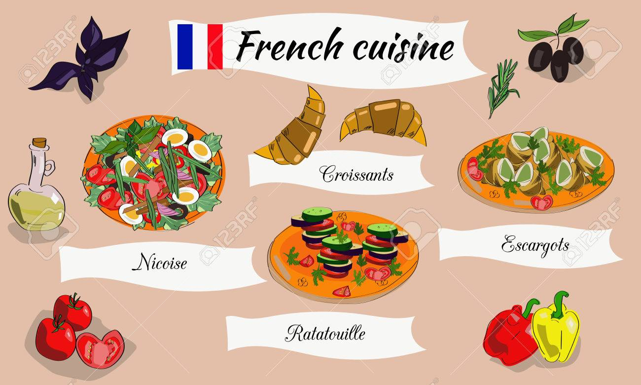vector set menu of french dishes traditional french food royalty rh 123rf com Croissant Clip Art Tour De France Clip Art