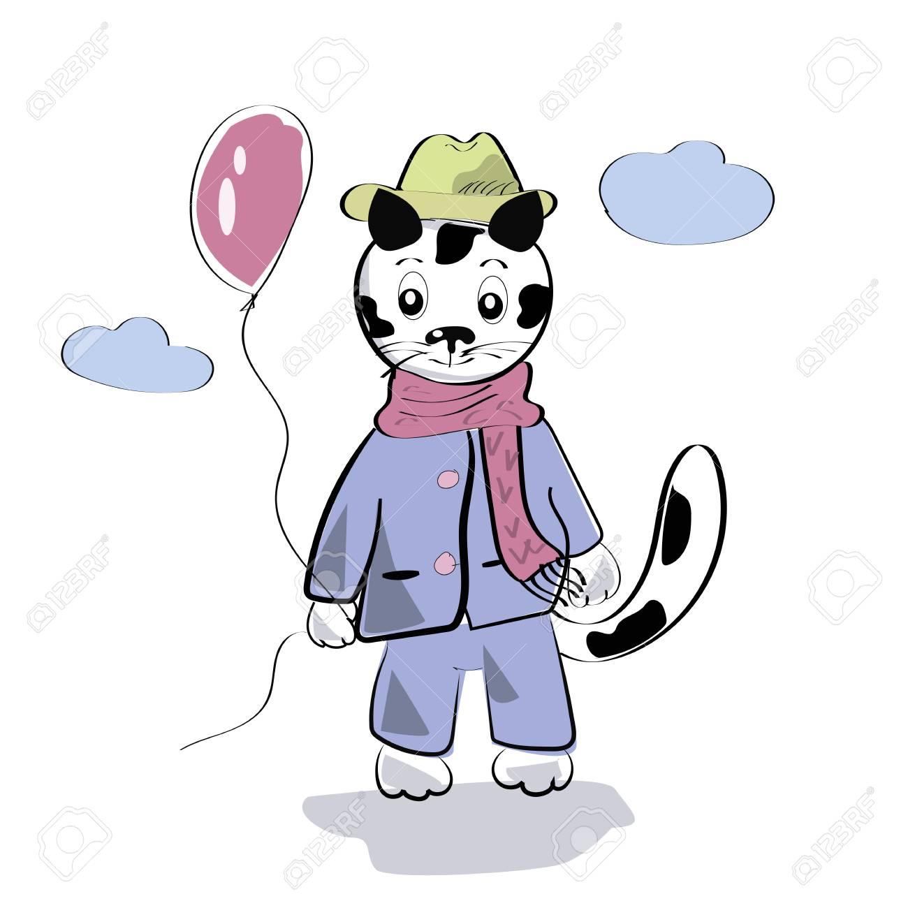 Vettoriale Piccolo Gatto Sveglio Con Fumetto Palloncino