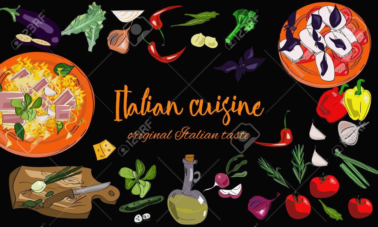 Hand Gezeichnet Italienische Küche Hintergrund Mit Gerichten Und ...