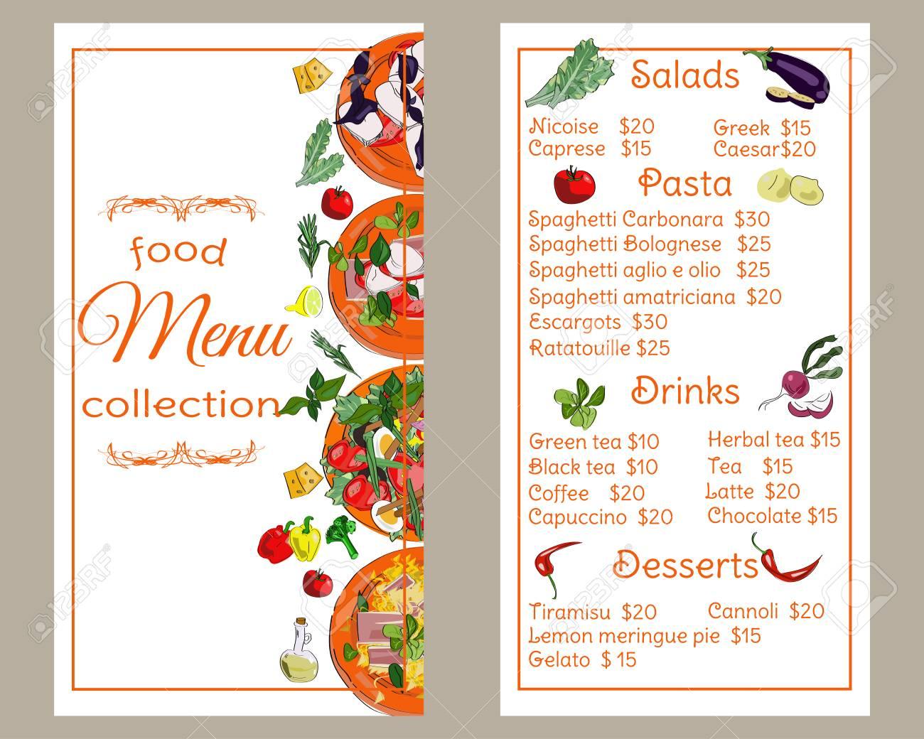 Restaurant Menu Design Templates | Restaurant Menu Vertical Template Food Menu Design Vector Drawn