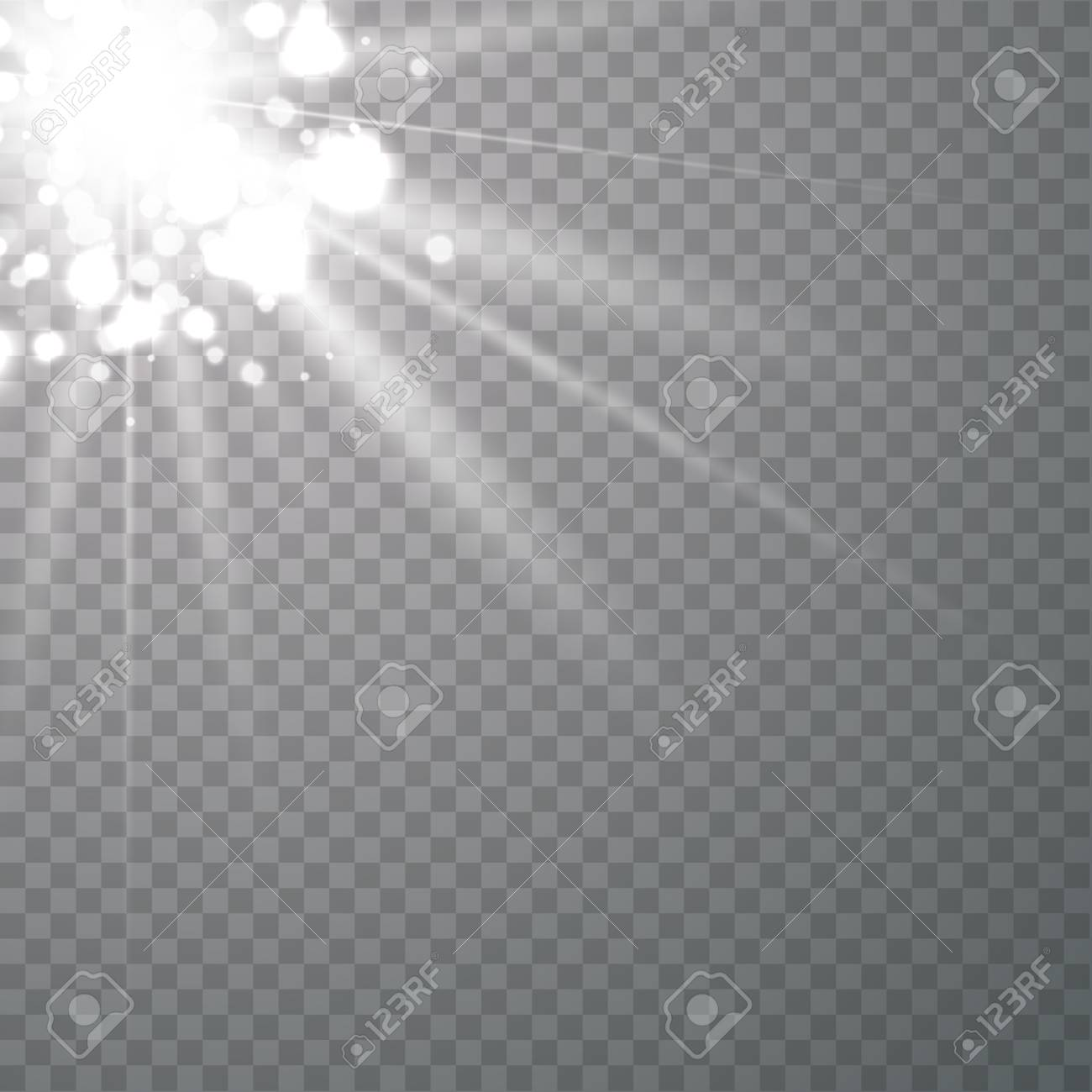 Sunlight on dust a transparent background  Glow light effects