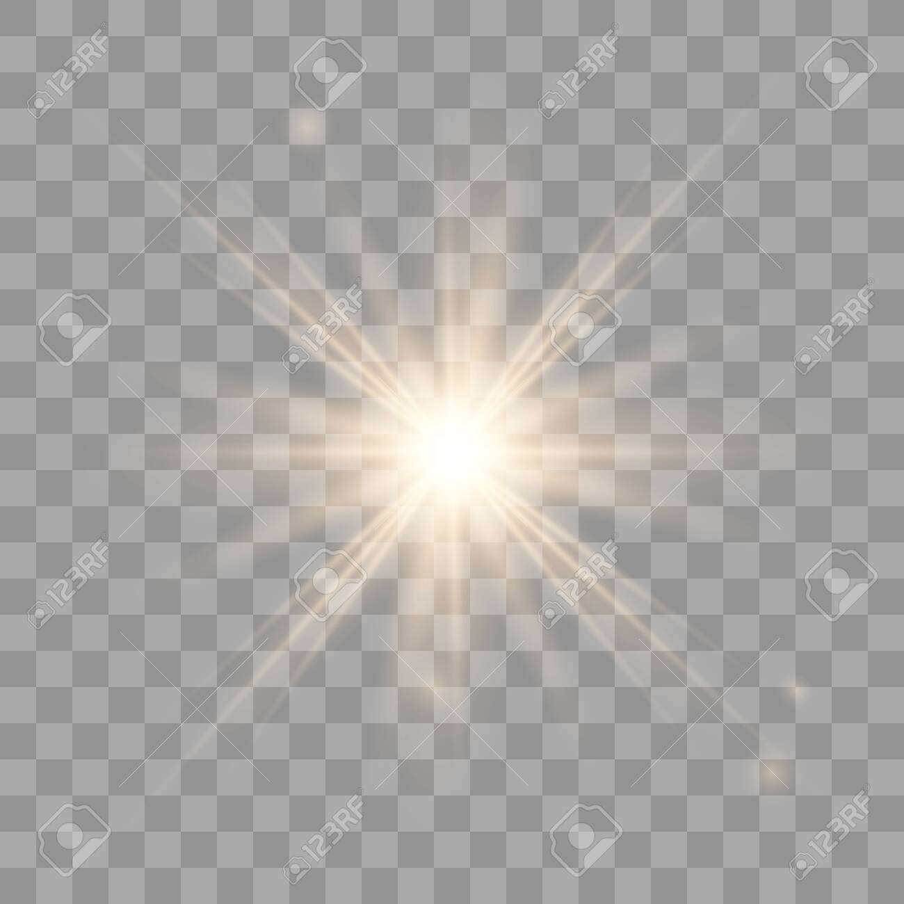 Golden shining vector sun with transparent rays. Yellow detonation effect. Sun flash with rays and spotlight. Star burst with sparkles on transparent background. - 121548778