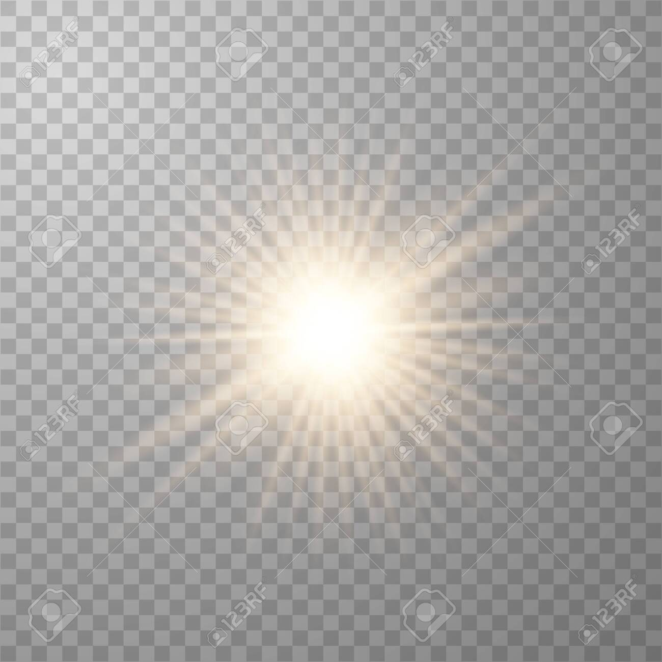 Gold beautiful light explodes with a transparent explosion. Vector, bright illustration for perfect effect with sparkles. Transparent shine of the gloss gradient, bright flash. - 122747464