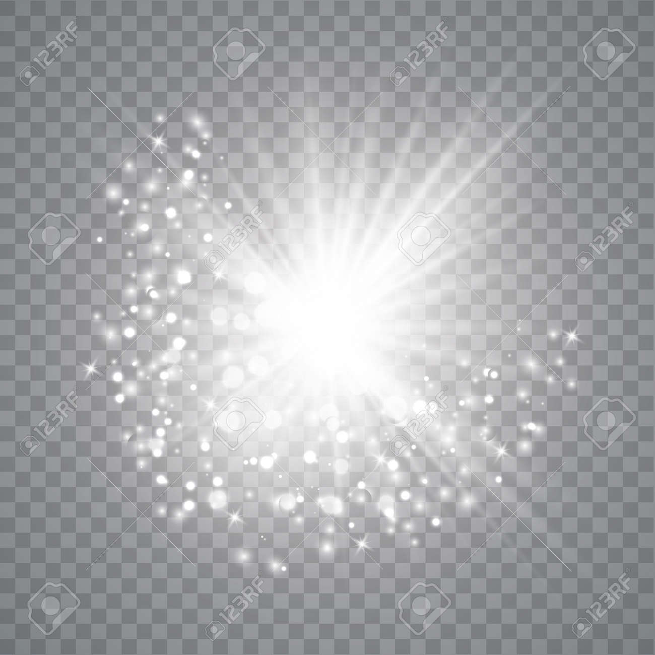 Glow light effect. Star burst with sparkles. Vector illustrator . Sparkling magic dust particles - 125137646