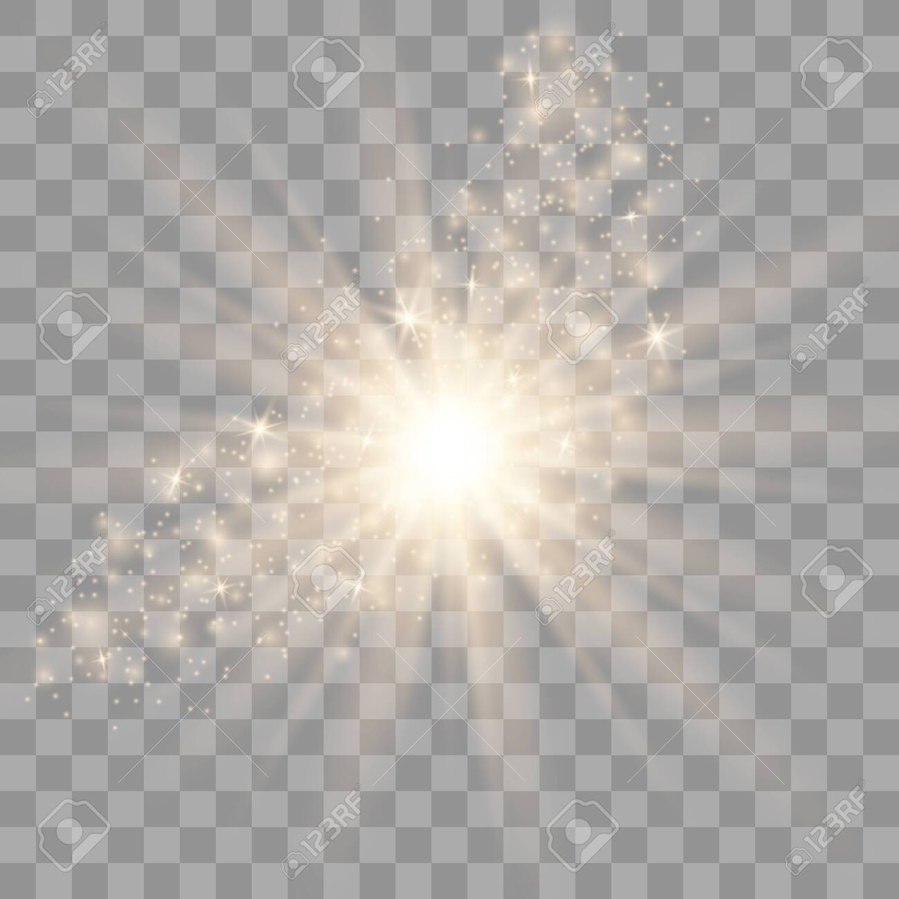 Glow light effect. Star burst with sparkles. Special effect isolated on transparent background. - 128274521