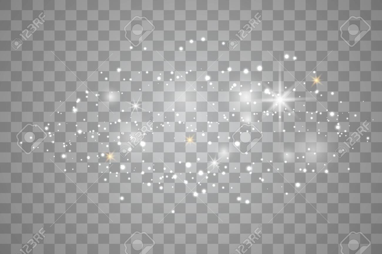 White sparks and golden stars. Glitter special light effect. White star dust trail sparkling particles isolated on transparent background. - 134655362