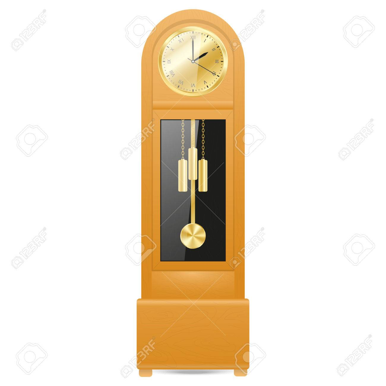 Grandfather Clock In A Wooden Case With A Gold Colored Metal