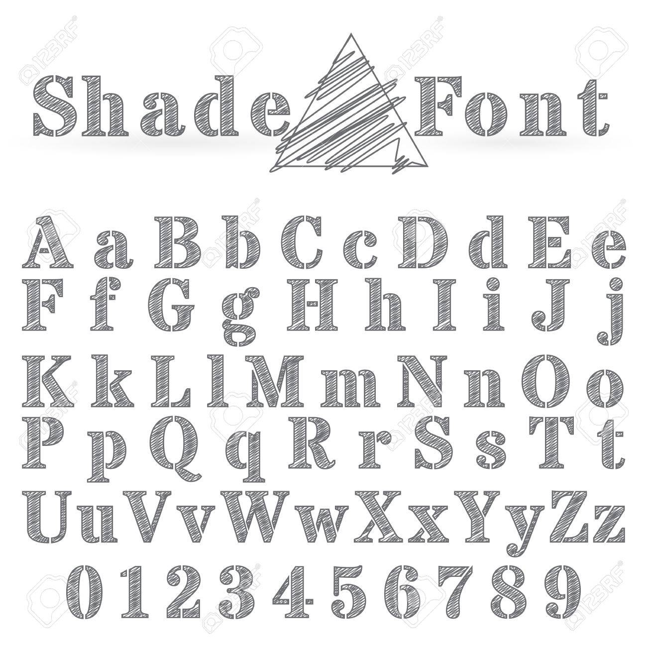 Vector Shaded Font Alphabet Type Letters And Numbers Stock