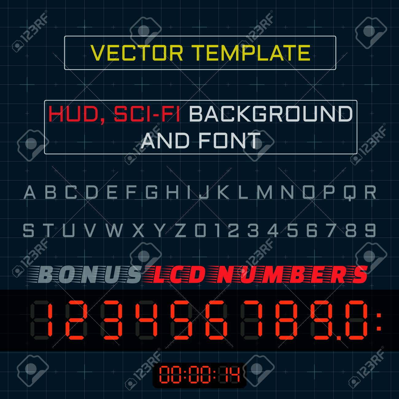 Background Font And Lcd Numbers For Heads Up Display Hud Royalty Free Cliparts Vectors And Stock Illustration Image 68760574