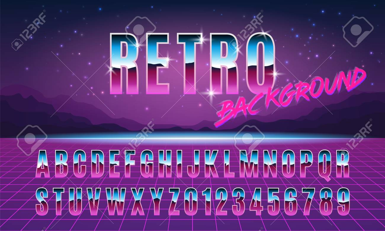 Background and font in style arcades the 80s  Music poster template