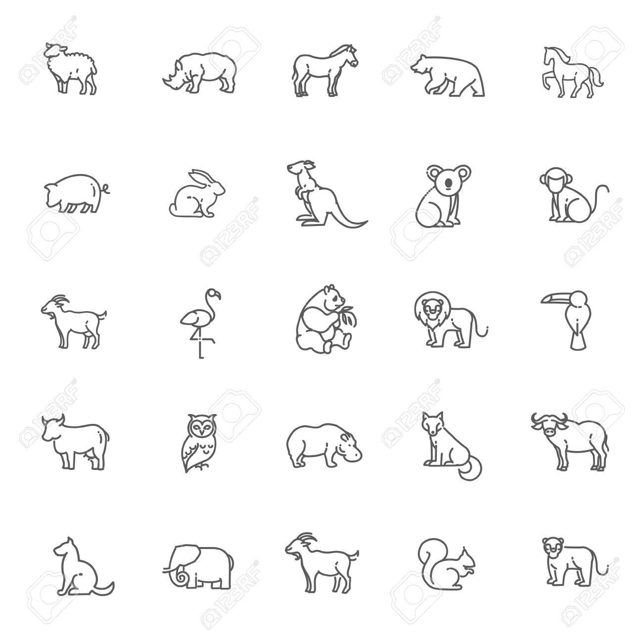 animal icons. vector outline icon set - 55440309