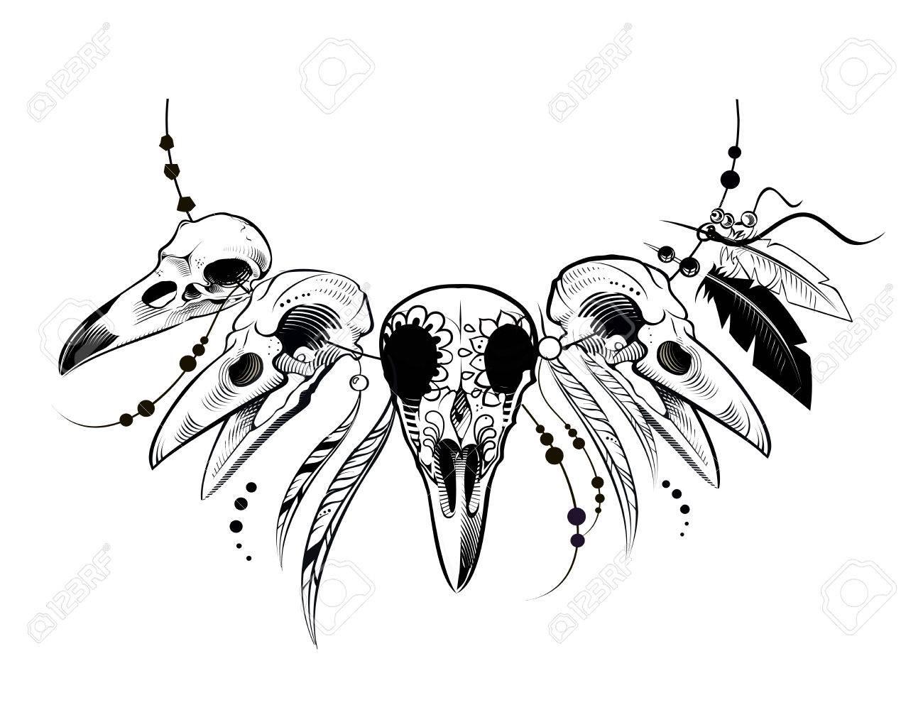 Raven Zucker Mexikanischen Schädel. Raben-Schädel. Vektor ...