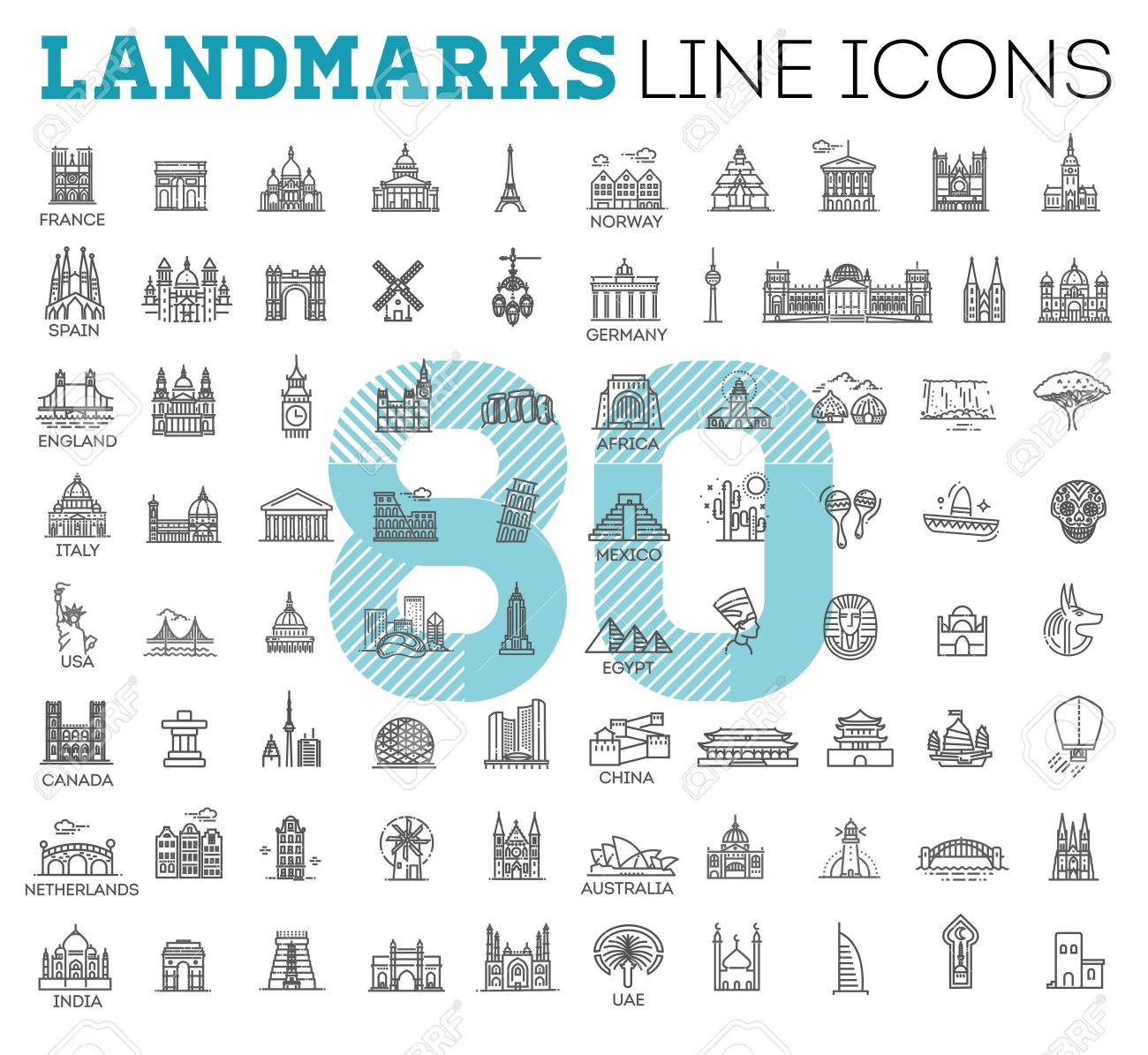 Simple linear Vector icon set representing global tourist landmarks and travel destinations for vacations - 94799495