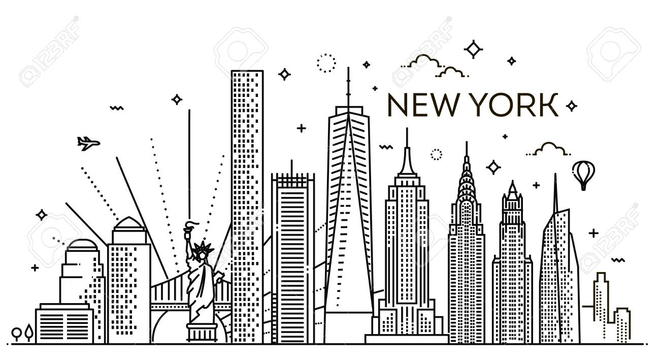 Linear Banner Of New York City All Buildings Royalty Free Cliparts Vectors And Stock Illustration Image 95121290