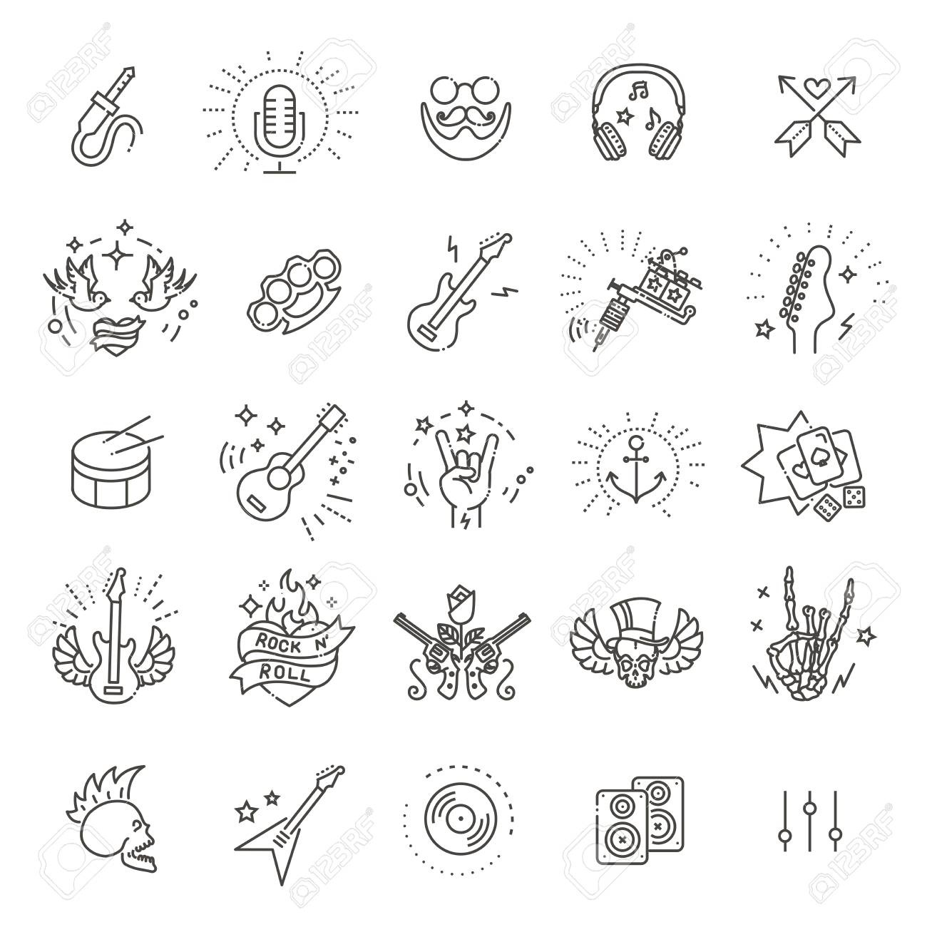 55382f07f Set Of Vector Symbols Related To Rock And Roll Royalty Free Cliparts ...