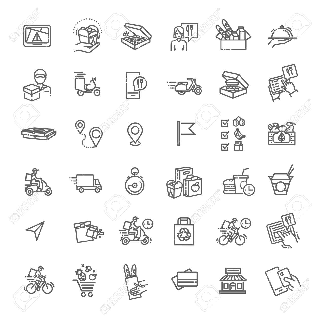 Set of Food Delivery Vector Line Icons - 169625708