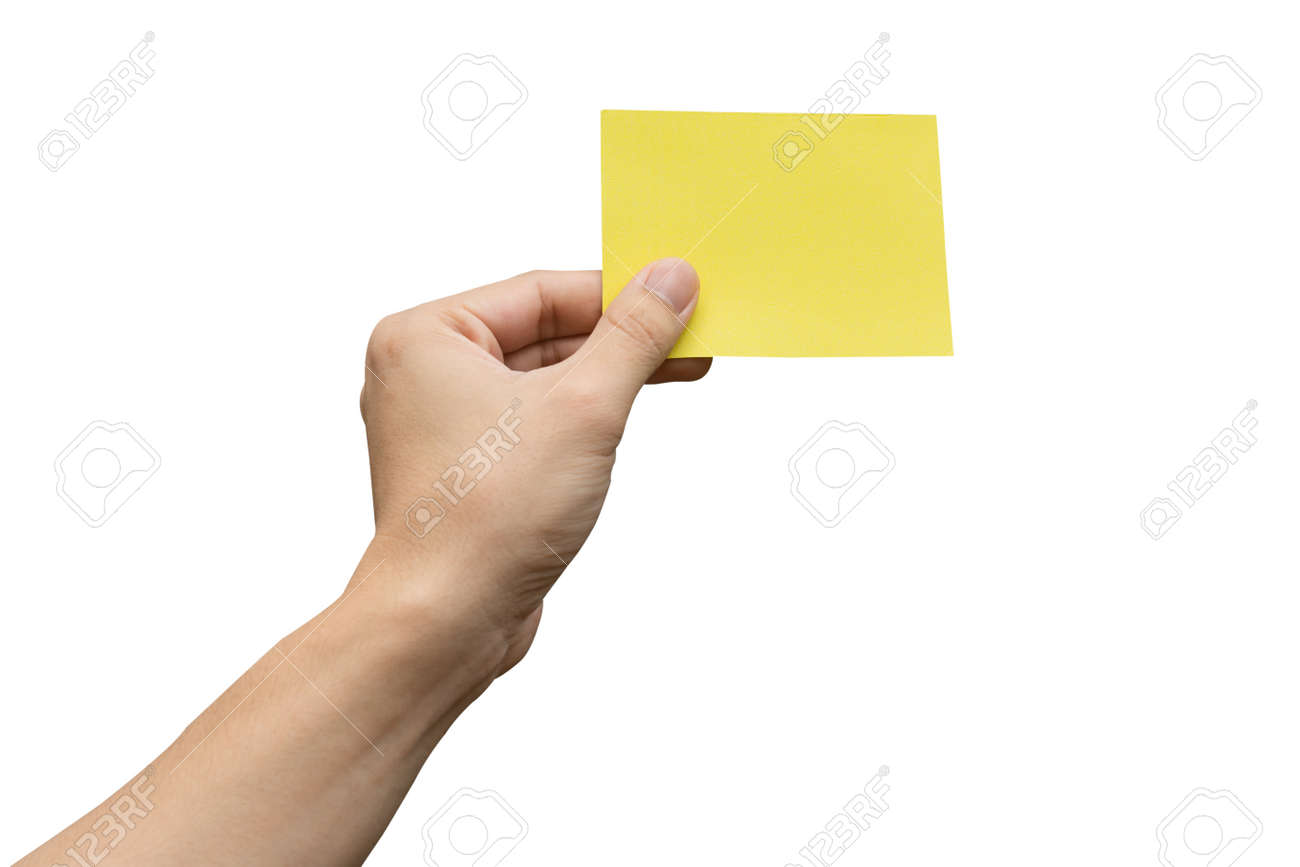 Hand holding yellow paper isolated on white with clipping path - 157475562