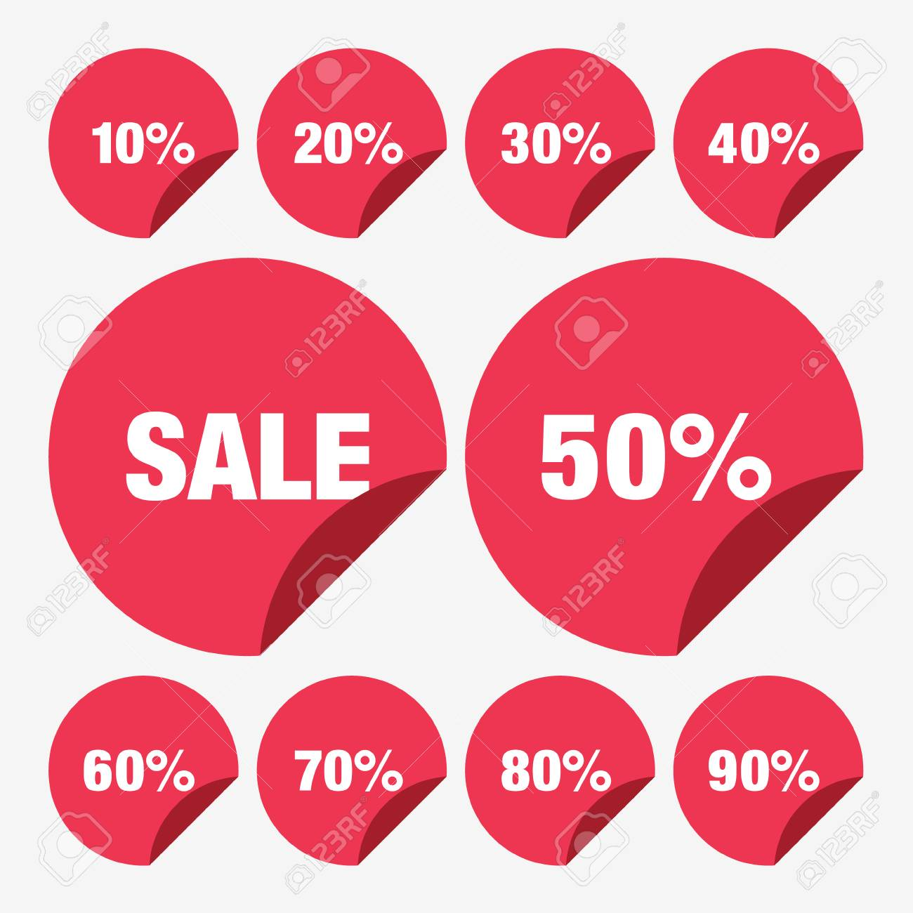 set template red sale tag percent royalty free cliparts vectors