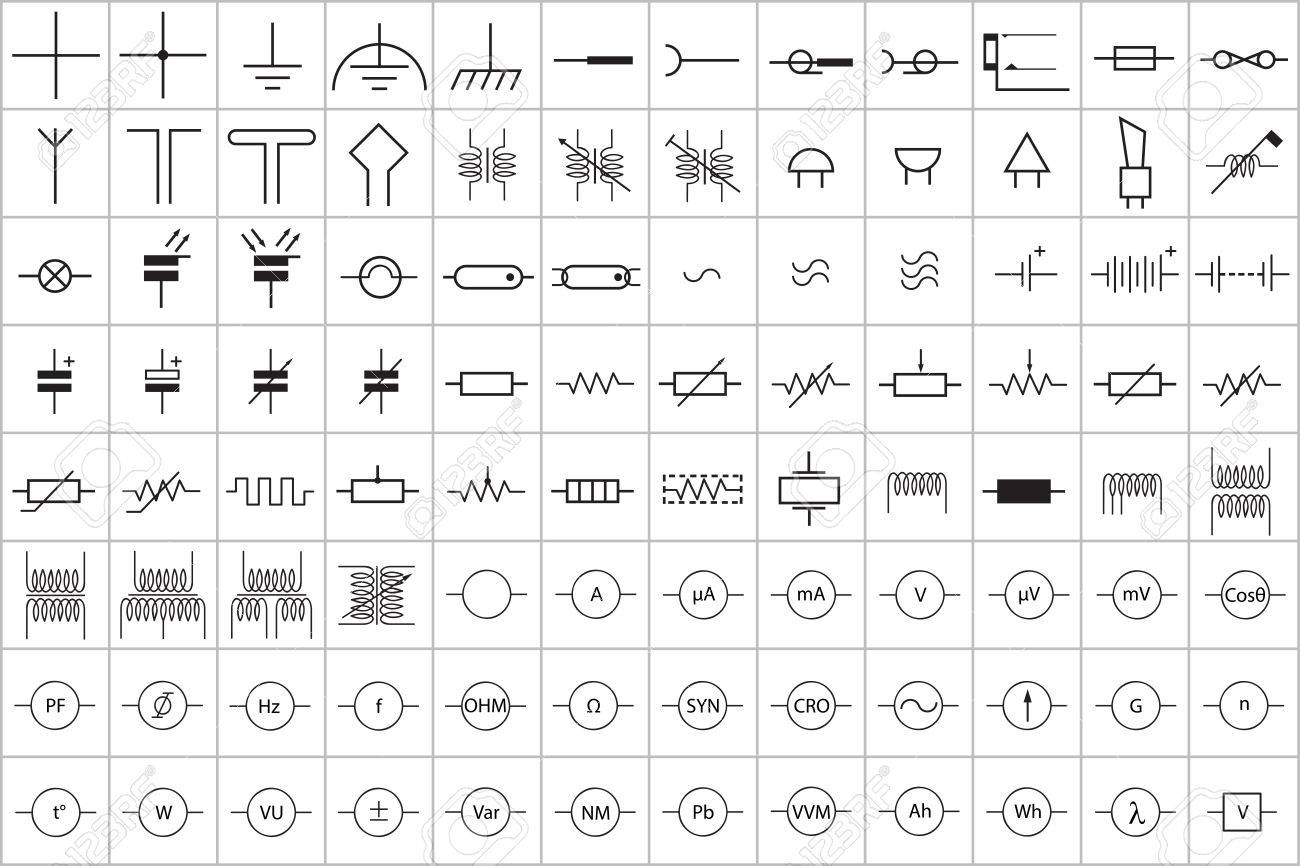 96 Electronic And Electric Symbol Vector Vol.1 Royalty Free Cliparts ...