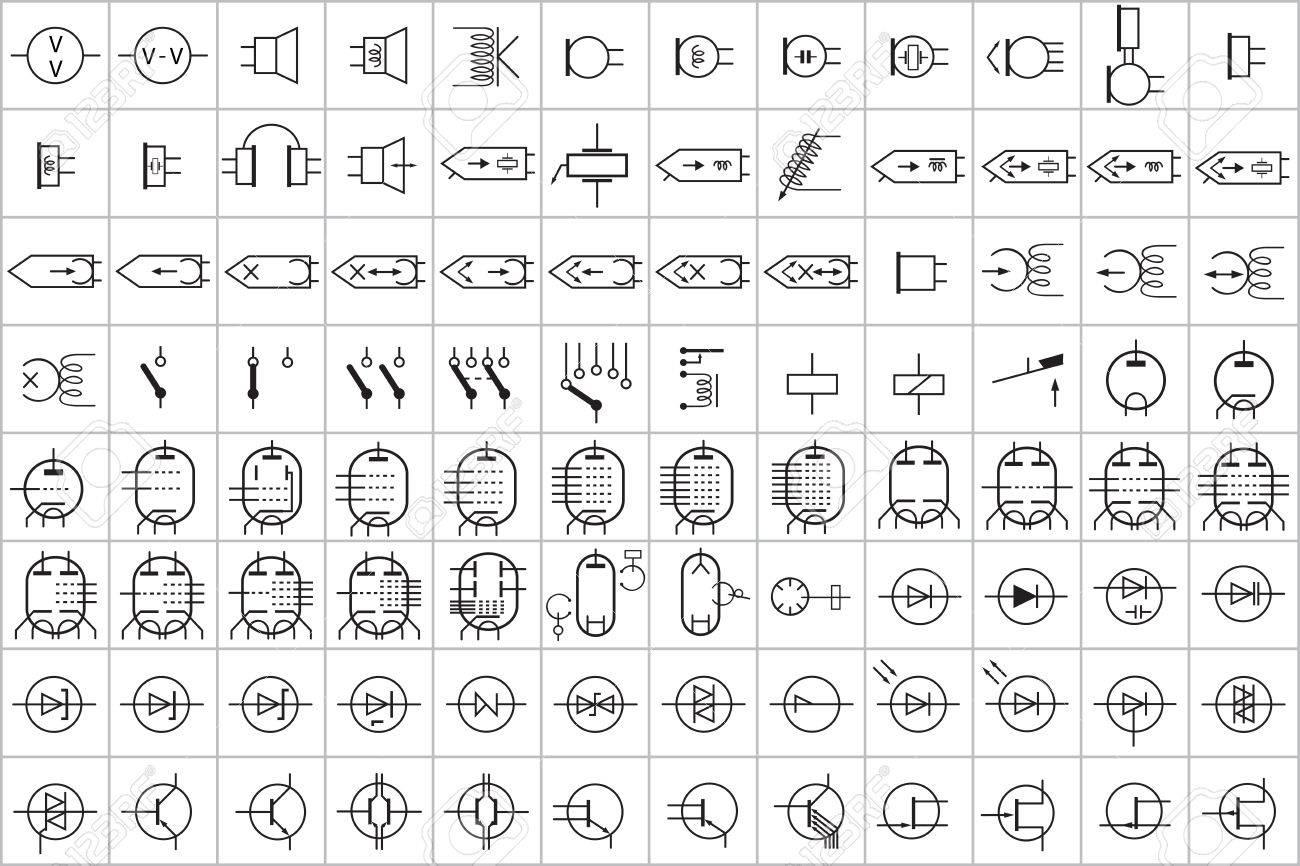 96 Elektronische Und Elektrische Symbol Vector Vol.2 Lizenzfrei ...