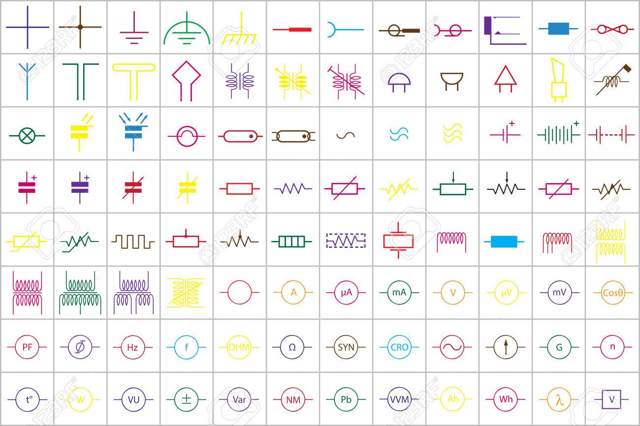 96 Electronic And Electric Symbols Colored Vector Vol.1 Royalty Free ...