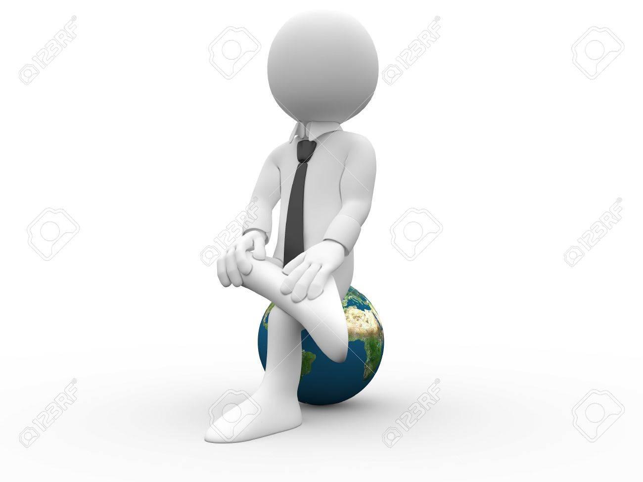 3D human sitting on Earth Stock Photo - 8141533