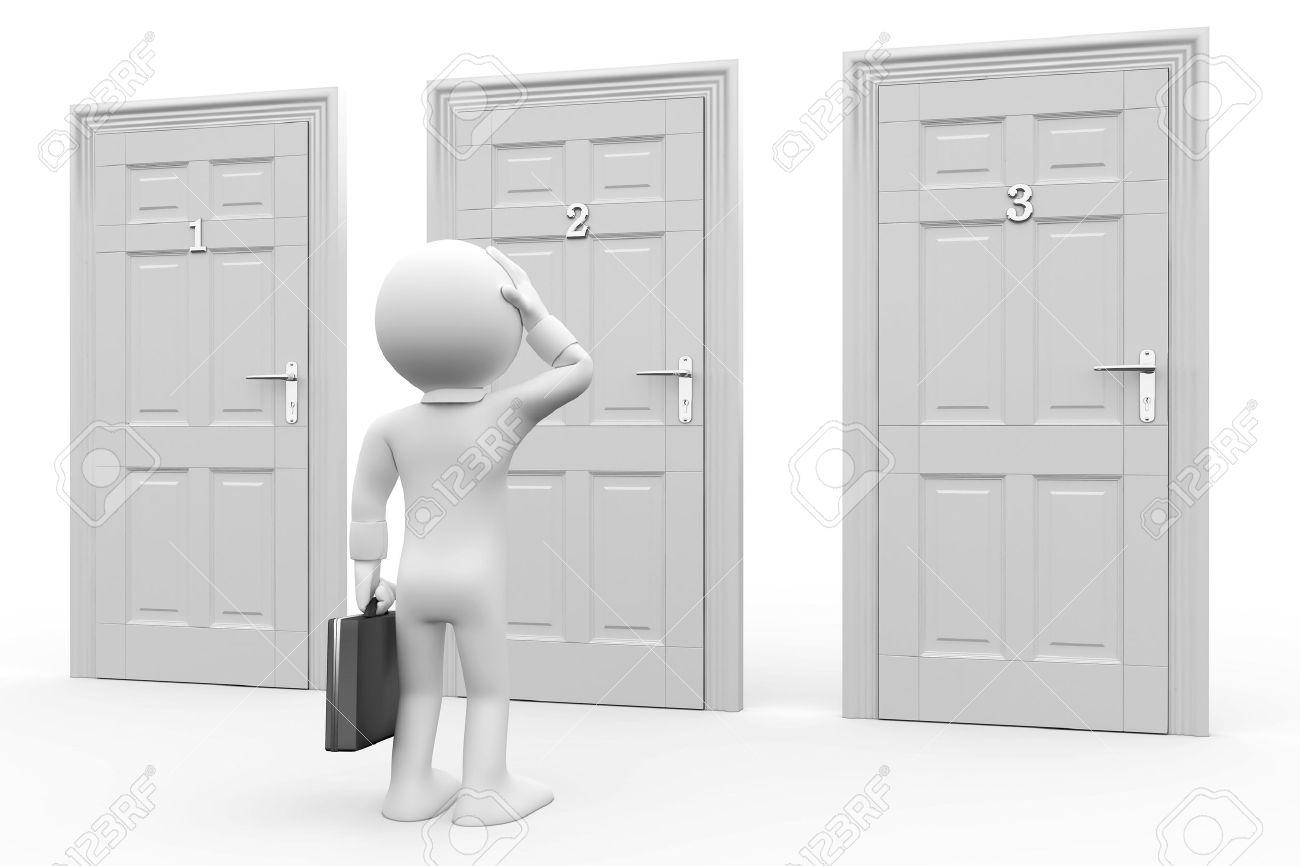 Man in front of three doors, doubtful Stock Photo - 8559198