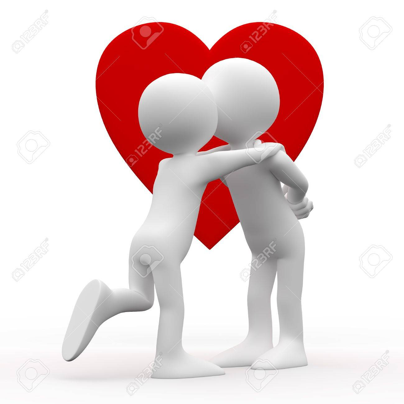 Woman kissing man with a heart background Stock Photo - 8559183