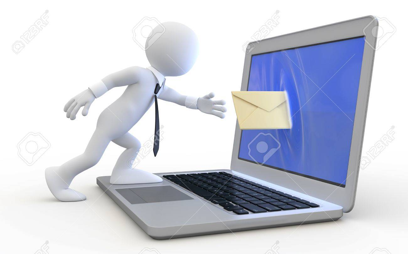 Man sending a message through the screen of a laptop Stock Photo - 8864428