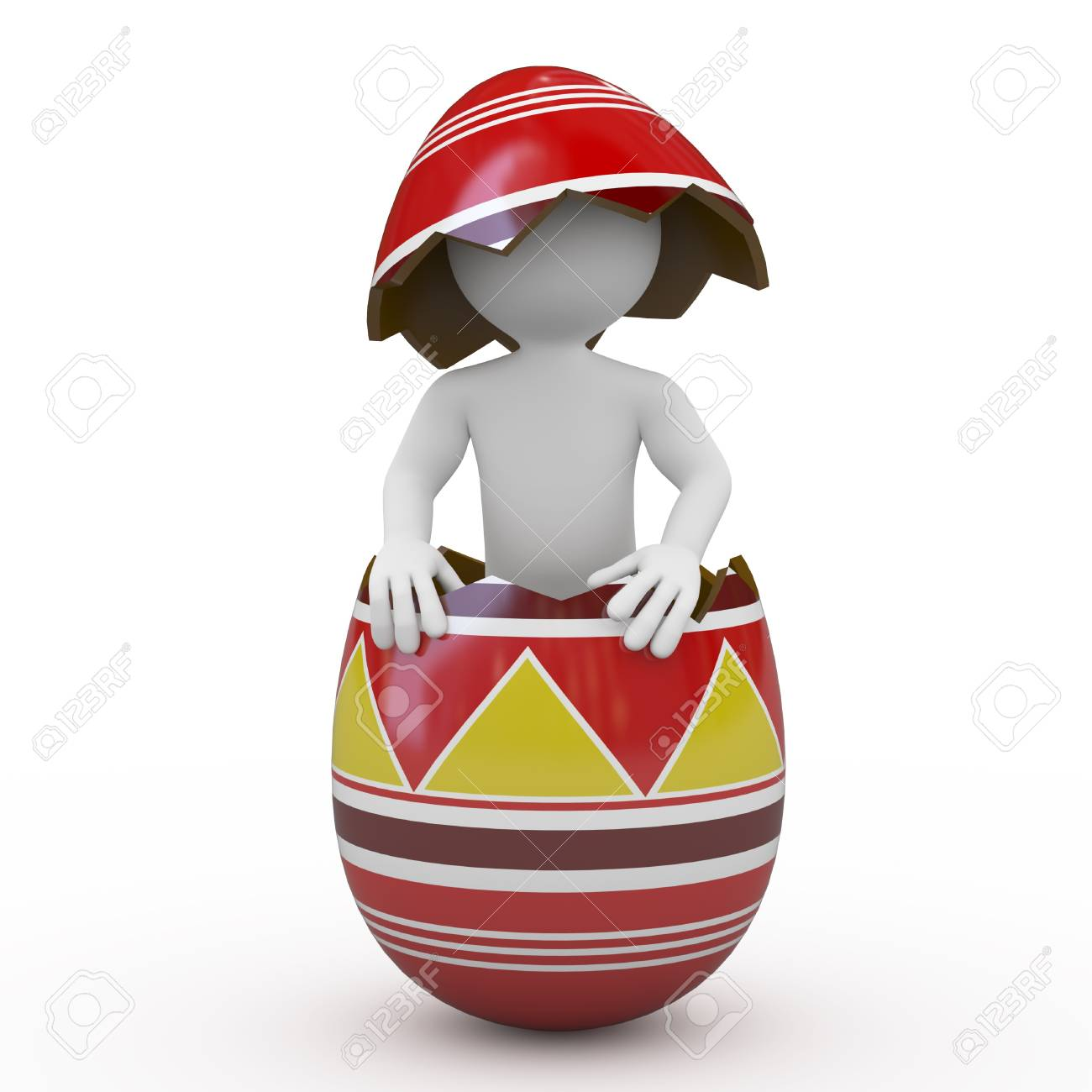Man inside a huge Easter egg Stock Photo - 9034455