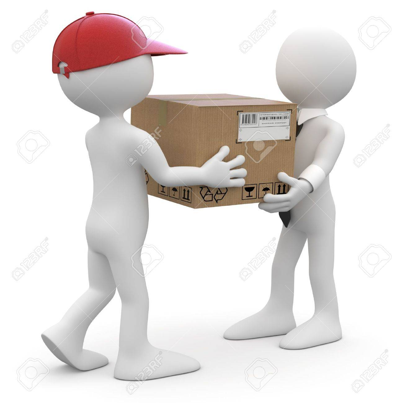 Worker delivering a package to a businessman Stock Photo - 9258156