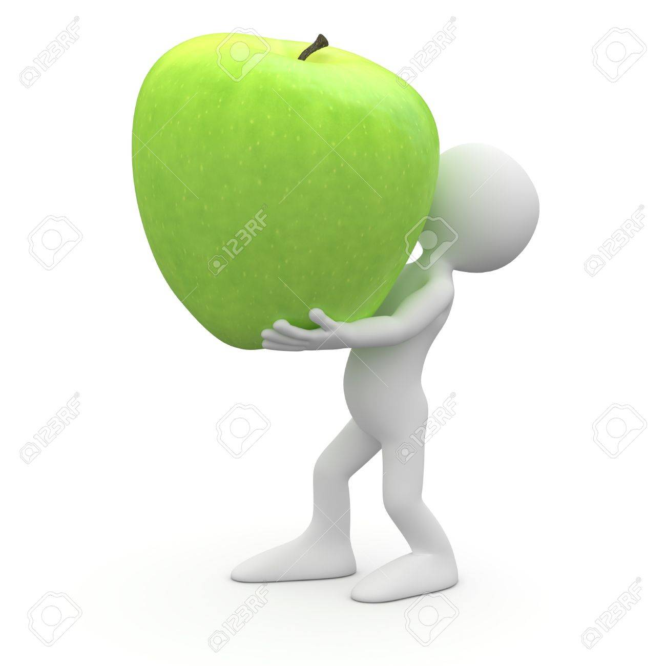 Man carrying a huge green apple Stock Photo - 9368994