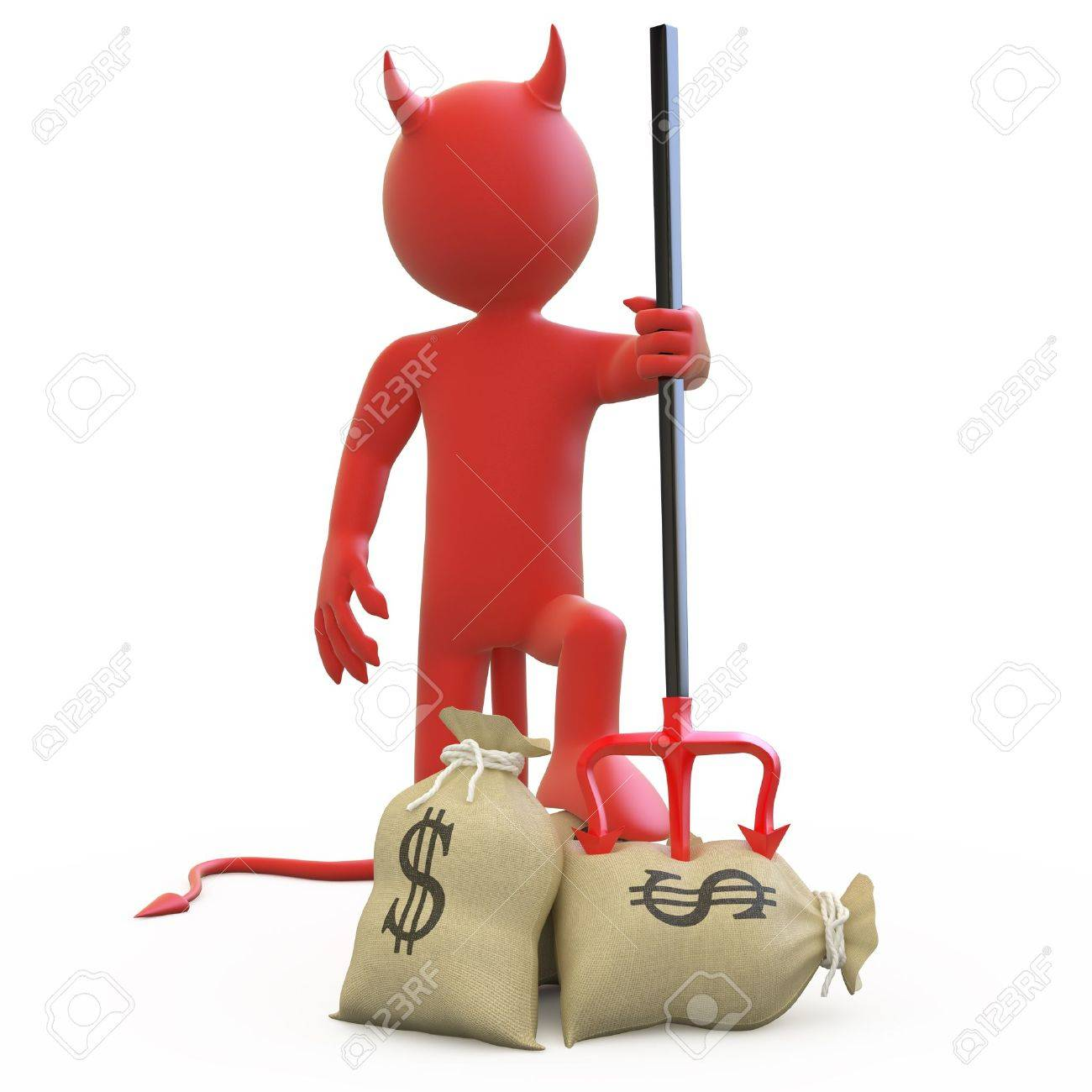 Devil with his trident stuck in sack of dollars Stock Photo - 9592326