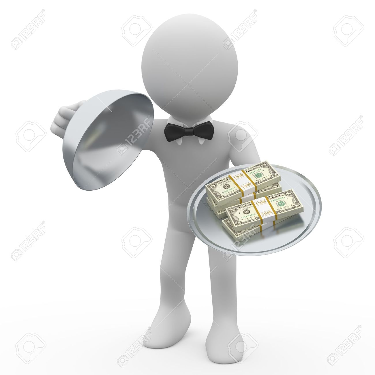 Waiter serving tray five wads of dollars Stock Photo - 9676813