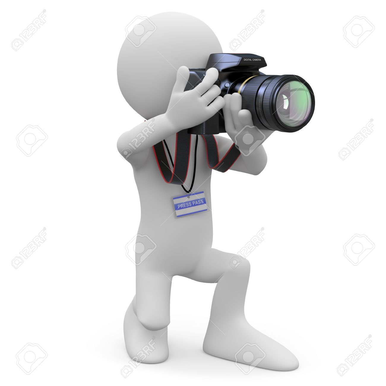 Photographer kneeling with his SLR camera Stock Photo - 9881156