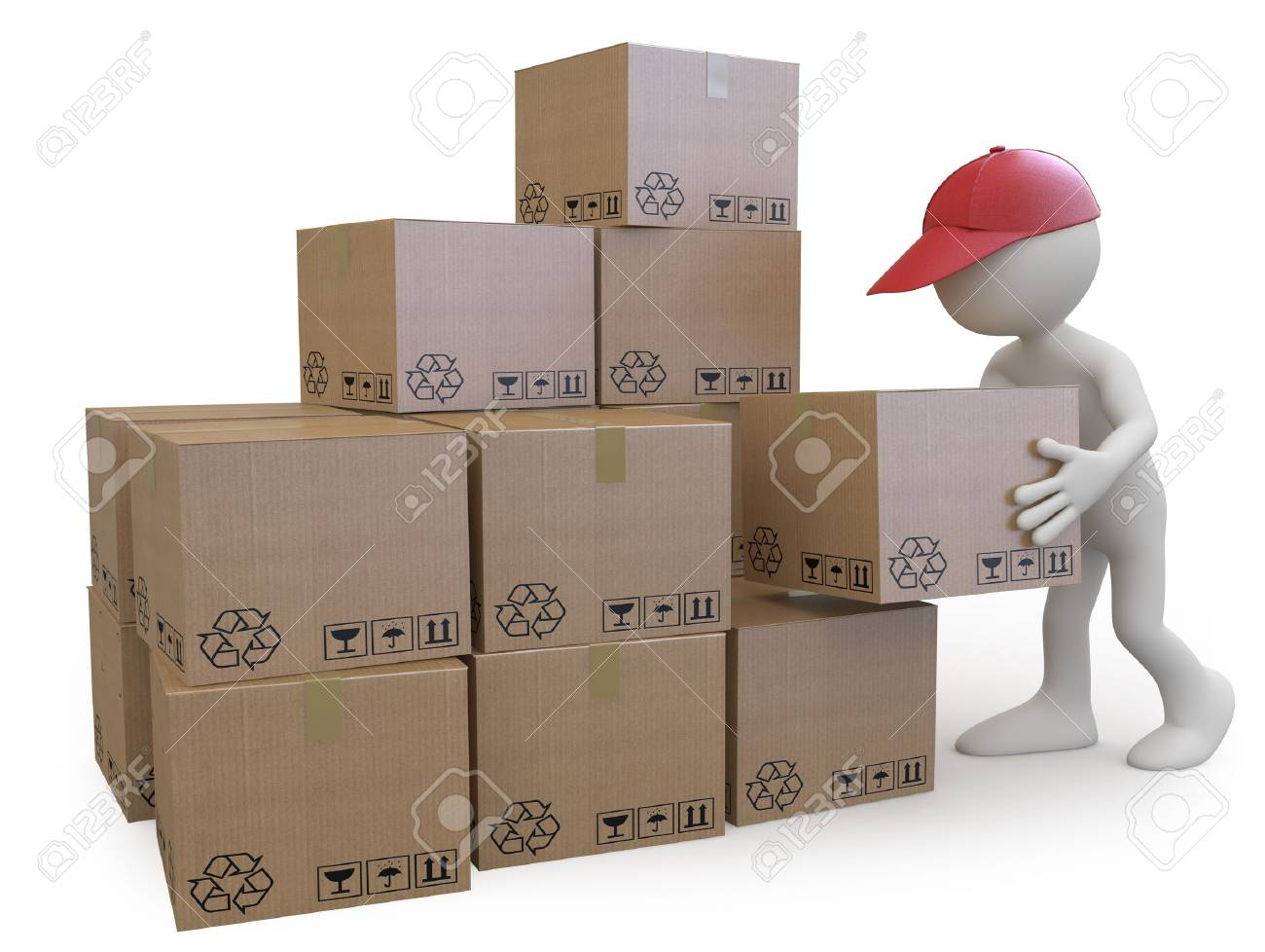Stock boy stacking cardboard boxes Stock Photo - 10134309